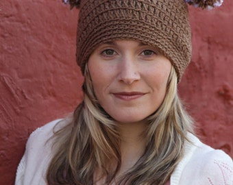 Women's Tan Hat, Women's Square Hat, Women's Crochet Hat, Crochet Pom Pom Hat, Winter Hat, Square Jester Pom Pom Hat