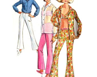 1960s Bra Top, Bell Bottom Pants Pattern Hip Huggers Button Front Blouse Mod Womens Pants Simplicity 6501 Bust 36 Vintage Sewing Pattern