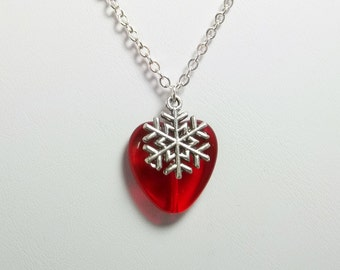 Heart Necklace Snowflake Friendship Gift Anniversary Gift Women's Necklace