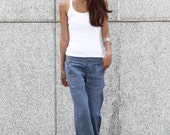 Elegance Casual Splicing Edging Straight Low-waist Pants in Grey Blue - NC401