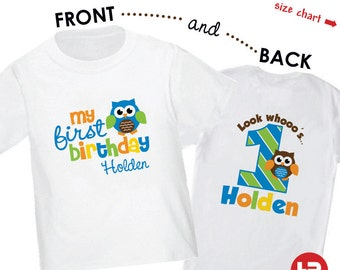 Owl 1st Birthday Shirt (Boys) - Personalized with Child's Name & Age