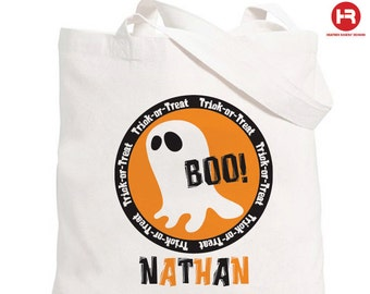 Halloween Trick or Treat Bag - Personalized Halloween Trick or Treat Ghost Bag - Halloween Candy Bag
