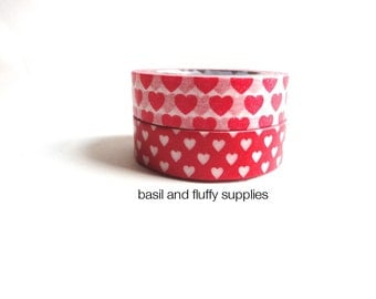 Washi Tape Two Rolls Set Red White Hearts Valentines Day Wedding Seals Cupid Love Holiday Christmas Washi Paper Tape