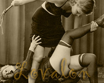 MATURE... Bad Girls, No Spanking... 1930's Vintage Nude Photo... Deluxe Erotic Art Print... Available In Various Sizes