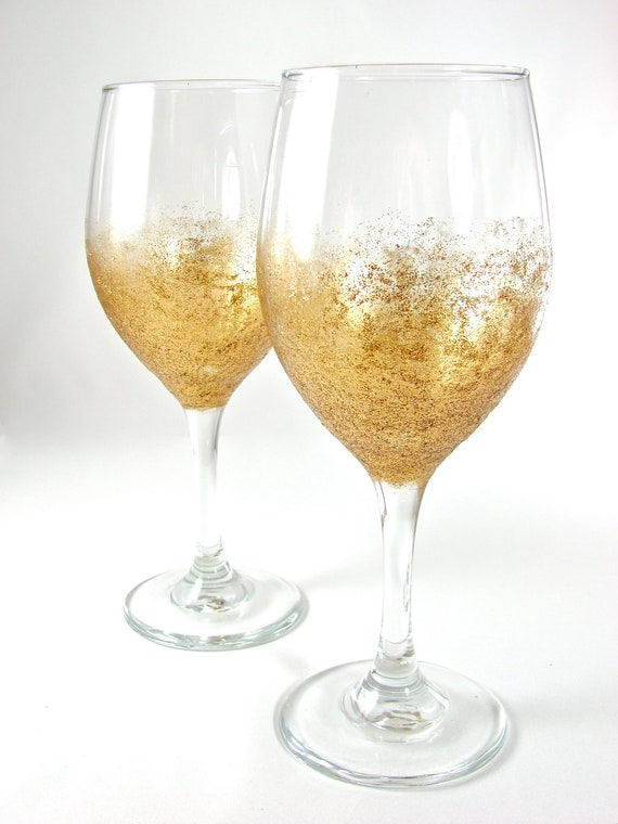 Glitter Wine Glass Pair Sunburst Gold