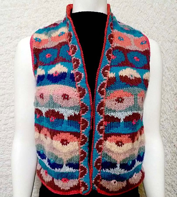 Vest, Fair Isle Hand-Knitted, Circle Pattern, multi-colored