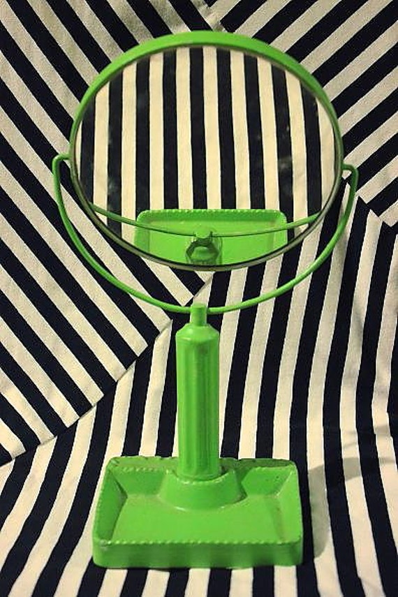 Vintage 1960s Green Mod Flip Mirror Collectibles Kitsch Bathroom Decor For Her Gift Art Deco Women Beauty Makeup