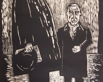 "Woodcut Relief Print. Harold Rosenburg and Fritz Kiesler. Woodblock. Printmaking. 15"" x 23.5"""
