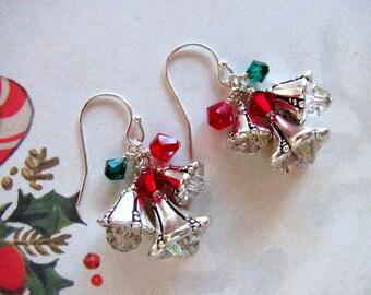 Christmas Bells Earrings, Holiday Earrings, Swarovski Earrings, Christmas Earrings, Bell Earrings, Christmas Jewelry, Red Earrings, Dangle