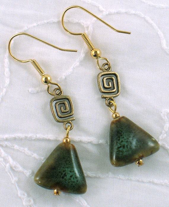 Brown and Green Speckled Ceramic Bead Earrings - Triangle Shaped Beads with Gold Swirl - Geometric Jewelry - Spring - Gifts Under 10