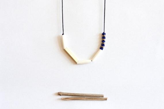 RESTOCK geometric, tribal, brass, white bone, czech beads and black rope, long, beaded necklace