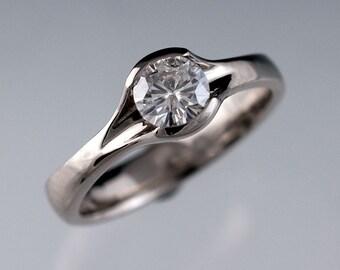 Round Moissanite Fold Engagement Ring Semi-Bezel Solitaire Ring in 14k Palladium White Gold, Nickel Free, Forever Brilliant Moissanite