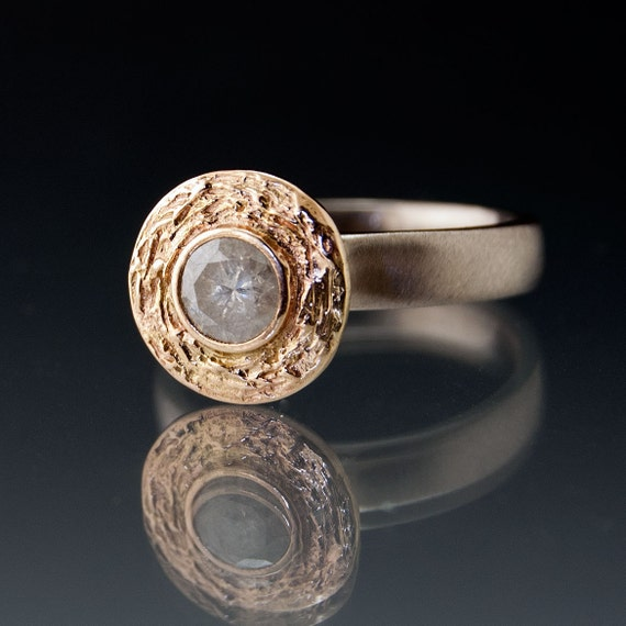 Gray Diamond Textured 14k Gold Halo Engagement Ring with Silver/Palladium Band - Wood Grain Halo Engagement Ring