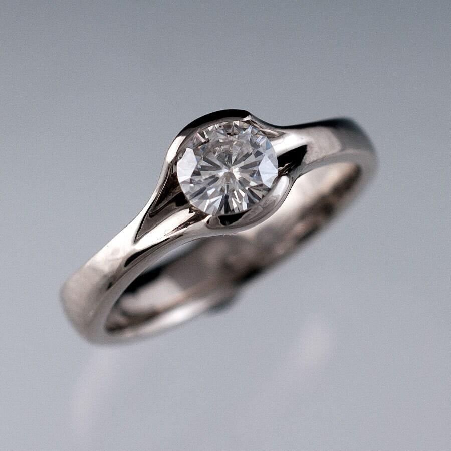 Round Moissanite Fold Engagement Ring Semi Bezel Solitaire