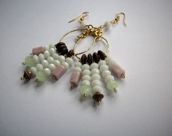 Mint and Lavender Hoop Earrings -- Pastel Colored Beaded Dangles