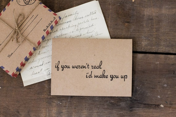Simple Blank Card - Valentine's Day Card - I'd Make You Up - Love - Blank Greeting Card - Rustic - Brown - Black