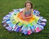 Rainbow dress patchwork dress, twirly twirler bright eco girls children sundress custom upcycled size 4 - 10 made to measure CUSTOM ORDER