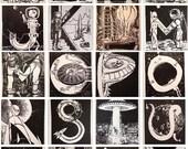 Sci Fi Letter Prints Linocut (Woodcut-ish) Handmade Print