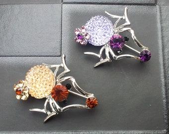 Sale Cute Silver & Purple or Amber Crystal Spider Brooch x1 Gothic Emo Punk Alternative