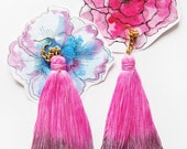 Lovely - hand dyed tassel earrings/mur Mur