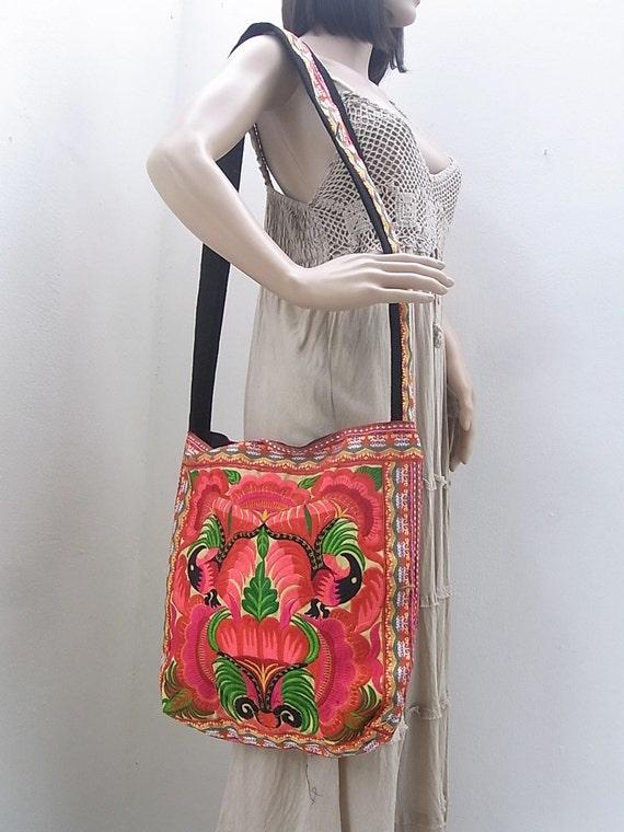 Cross-Body Bag Orange Tote bag HMONG Embroidered Bag Hippie Boho Handmade Thailand (BG123POB)