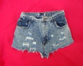 Daisy Dukes Vintage High Waisted Cut Off Jean Shorts Acid Wash Denim 80's Indie Boho Chic Rocker Chick Booty Shorts - Size 28 w