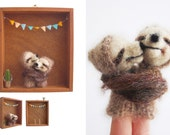 WALL ART Shadow BOX, Hugging Sloth Finger Puppets / soft sculptures in a Vintage Box, Children's Toy, Wall Hanging, Nursery or Home Decor