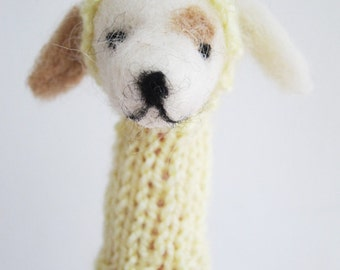 Puppy Finger Puppet Soft Toy- needlefelted from wool with a knitted hoody, children, kids, baby
