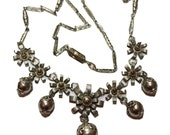 Victorian Silver Sigma Necklace, Lavalier with Silver Dangle Beads and Flowers on Chain, Nicely Handcrafted.