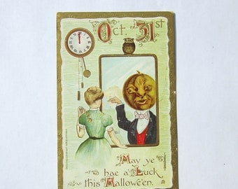 Vintage Halloween Postcard Woman Looking into Mirror Hae a Luck Halloween 1909