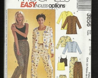 McCalls 3856 Pajama Tops & Bottoms Perfect for Every Season Sizes L-16/18 - XL-20/22 UNCUT