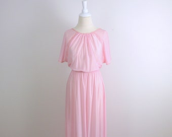 Pink Butterfly Nightgown - Vintage 1970s Maxi Nightgown in Rose - Small Medium