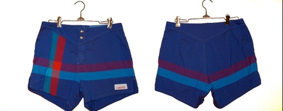 1980s Catchit Unisex Board Shorts / Cobalt Plaid Swim Trunks Small / Medium