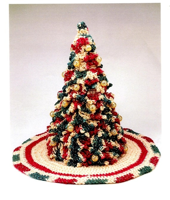 Crochet victorian christmas pine tree and skirt by letscoverit