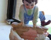 "Vintage 70's KPM Figurine ""Boy Jumping Over Wall"""