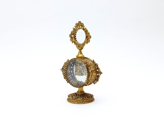 Vintage Perfume Bottle with Dauber, Gold Filigree, Cherub & Floral Design, Beveled Glass