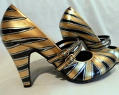 Hand Painted Gold Deco Sunburst  Double Mary Jane Heel Shoes Size 7