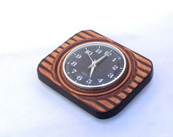 Wall clock ceramic - brown / chocolate color - from Germany