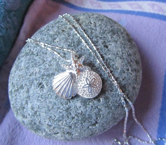 Sterling Silver Sealife Necklace, Beachy Necklace, Starfish, Seashell and Sand Dollar in Beautiful Sterling Silver on Diamond Cut Chain