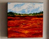 Textured Knife Painting, Original Landscape Painting, Blueberry Barrens, Acrylic 10x10,Gallery Wrapped Canvas, home decor