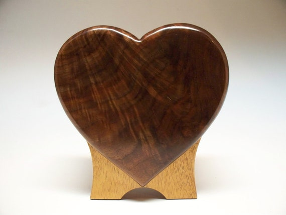 Figured Walnut  Pet Urn-Standing Heart