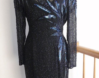 "Lillie Rubin Black Beaded "" Need to be Seen to be Believed"" Magnificent Vintage Dress   Reduced 100.00!"