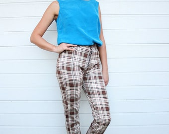 Vintage Plaid Fitted Pants