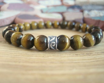 Mens Celtic Bracelet - Tigers Eye Bracelet for Men with Silver Celtic Band, Tiger Eye Mens Gift for Self Confidence, Protection and Success