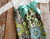 Newborn Layette, Infant Gown, Baby Gown - Aqua Paisley