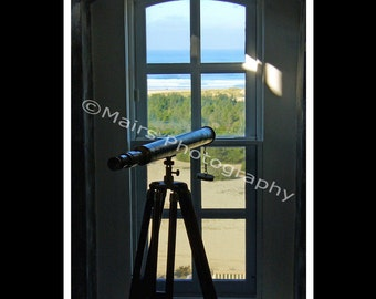 Telescope Lookout Ocean Lighthouse Window Dunes Oregon, Original Photograph, Fine Art Photography signed matted 5x7 print