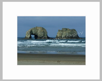 Archs Twin Rocks Surf Ocean Beach Sand Waves Oregon Coast Pacific NW  Nature, Fine Art Photography signed matted 5x7 Original Photograph