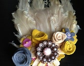 Tea Time Felt Flower and Feather Fascinator Hair Clip