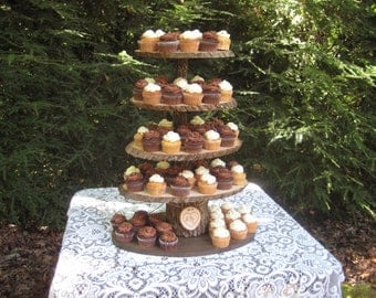 Cupcake Stand Rustic Wedding Wood Dessert Bar 5 Tier X Large Personalized Cake Stand