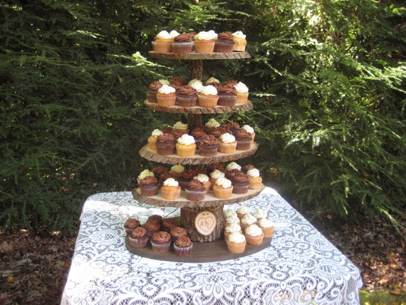Rustic Wedding Wood Cake Stand: Rustic Cupcake Stand Wedding Wood Dessert Bar 5 Tier X Large